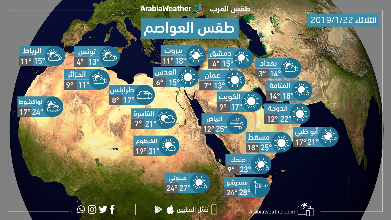 حالة الطقس المُتوقعة في عدد من العواصم العربية ليوم الثلاثاء 22/1/2019   طقس العرب