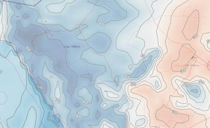 ضباب مُتوقع على المرتفعات الجبلية في تبوك ليلة السبت/الاحد